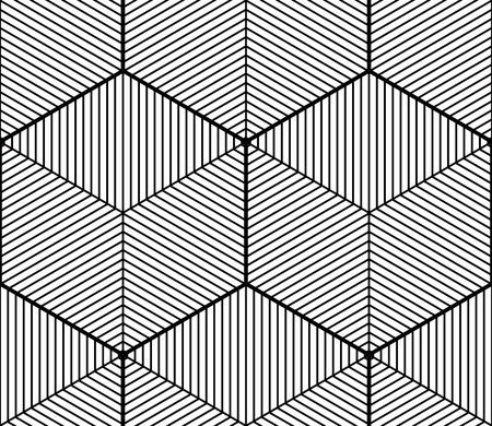 entwine: Monochrome abstract interweave geometric seamless pattern. Vector black and white illusory backdrop with three-dimensional intertwine figures. Graphic contemporary covering.
