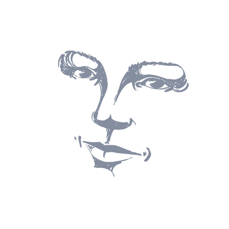 bemused: Facial expression, hand-drawn illustration of face of romantic girl with positive emotional expressions. Beautiful features of lady visage.
