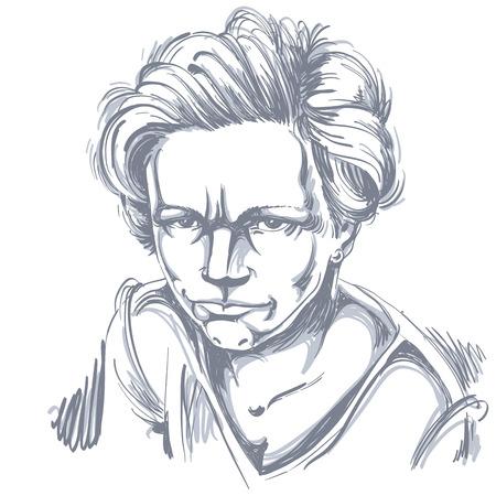 Vector art tekening, portret van boos meisje op wit wordt geïsoleerd. Gezichtsuitdrukkingen, mensen negatieve emoties.