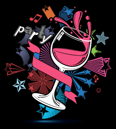 revelry: Celebrative leisure backdrop with musical notes, glass goblet with wine and decorative stars. Graphic festive splash poster with design elements easy to use separately.