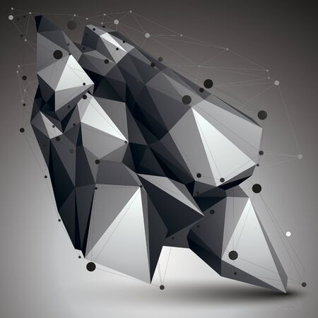 gray thread: Geometric monochrome polygonal structure with lines mesh, modern science and technology element. Illustration
