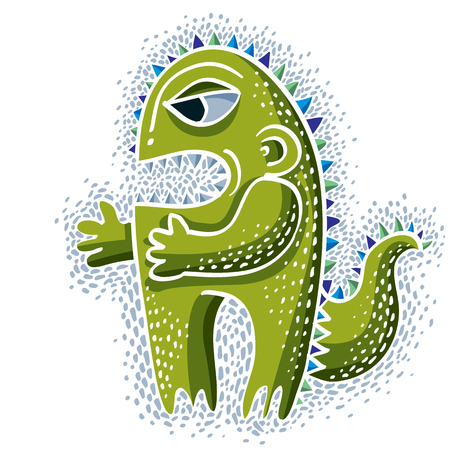 Vector cute Halloween character ogre, fictitious creature. Cool illustration of freak green monster.