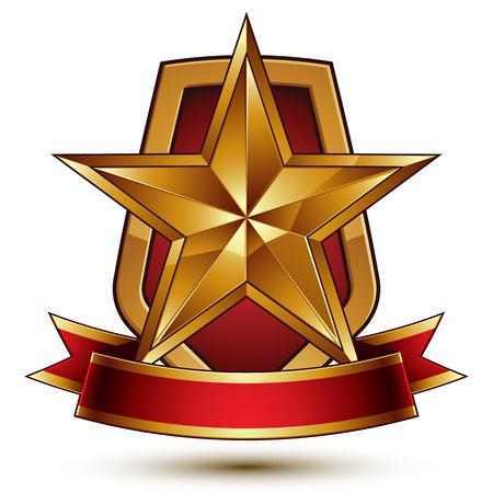 glisten: 3d vector classic royal symbol, sophisticated protection shield with golden star and red wavy stripe, decorative emblem isolated on white background, dimensional glossy element.
