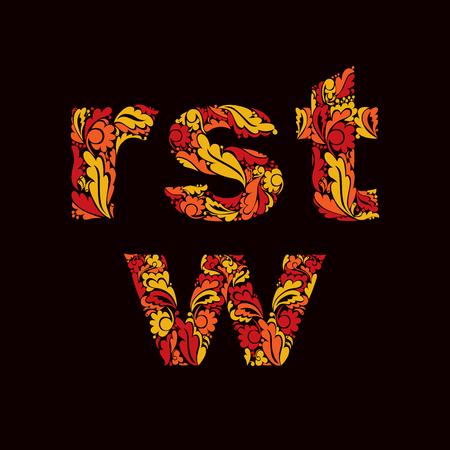 fire letter: Bright autumn style vector font, typeset with eco floral ornament. R, s, t, w letters isolated.