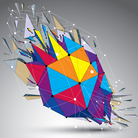 refractions: 3d vector low poly object with connected lines and dots, colorful geometric wireframe shape with refractions. Asymmetric perspective shattered form. Illustration