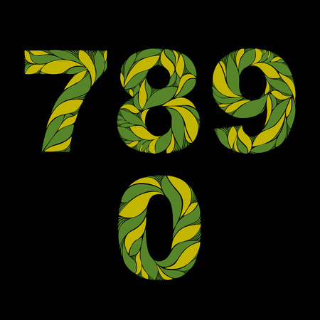 flowery: Decorative numerals with natural pattern. Flowery green ecology style digits, calligraphic numbers.