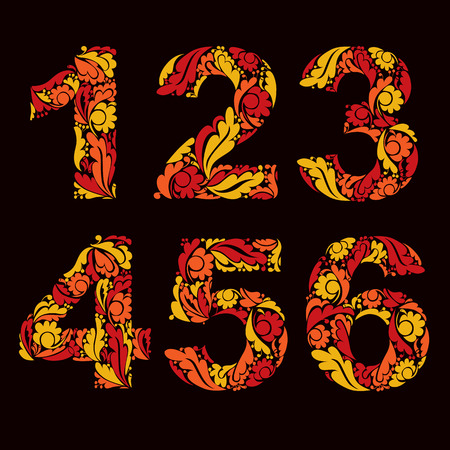 4 5: Beautiful floral numbers, decorative digits with autumn retro pattern. 1, 2, 3, 4, 5, 6.