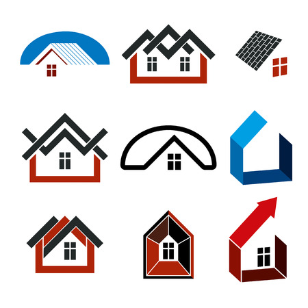 simple house: Growth trend of real estate industry, vector simple house icons. Abstract building with an arrow showing up.