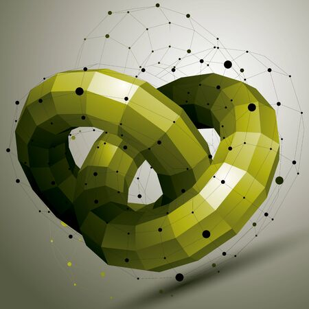 form a circle: Vector digital 3d abstraction, geometric polygonal element. Spatial technological colorful shape, perspective object, green circles. Illustration