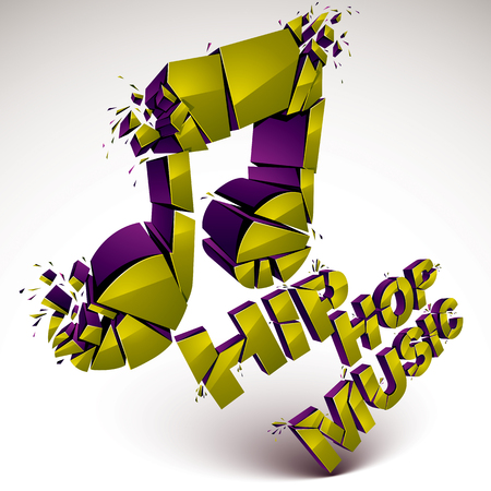 facet: Green 3d vector shattered musical note with specks and refractions. Dimensional facet design music demolished symbol. Hip hop music theme Illustration