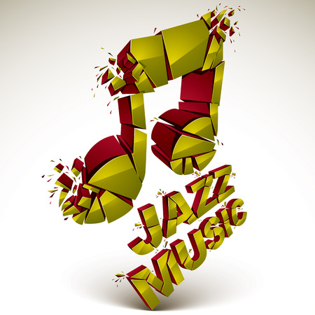 grooves: Yellow 3d vector musical note created from refractions isolated on white. Three-dimensional transform music theme design element. Jazz music theme.