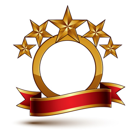 blazon: Majestic vector golden ring isolated on white background, 3d polished five golden stars. Heraldic branded symbol with festive red ribbon. Dimensional glossy decorative stars, elegant shaped blazon. Eps8. Illustration