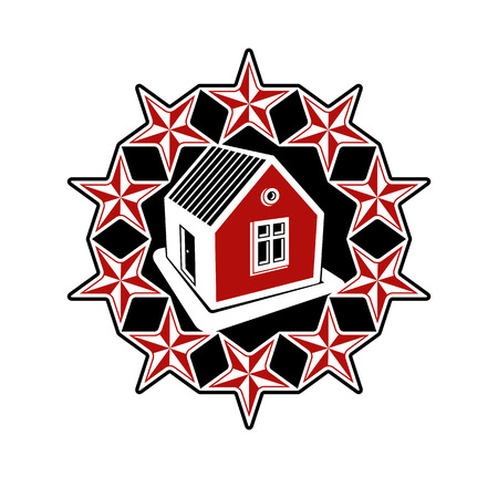 solidarity: Solidarity idea branding icon, simple vector house surrounded with festive stars. Stylized design element, union theme.