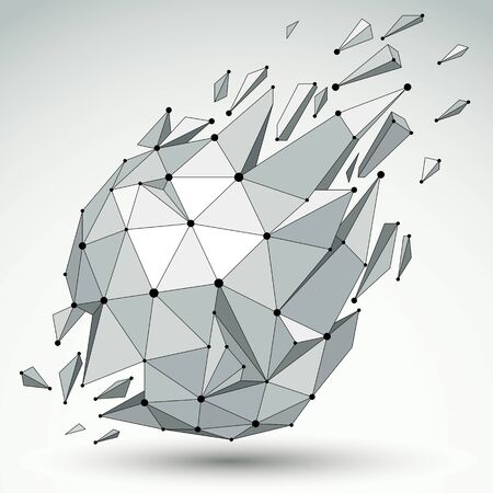 refractions: 3d vector low poly spherical object with black connected lines and dots, geometric wireframe shape with refractions. Asymmetric perspective shattered form.