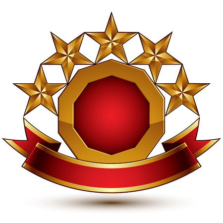 blazon: Vector glamorous round element with red filling, 3d polished five golden stars branded symbol with festive ribbon. Dimensional decorative stars, elegant shaped blazon. Eps8. Illustration