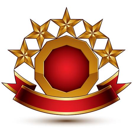 벡터 빨간색 매끄러운 라운드 작성 요소를 작성, 3d 광택 5 황금 별 축제 리본 메뉴와 함께 브랜드 기호. 차원 장식 별, 우아한 모양의 blazon입니다. Eps8.