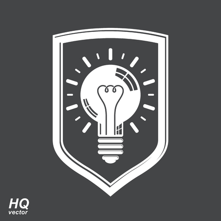 conception: Protection shield with electricity light bulb symbol. Vector brain storm conceptual icon - corporate problem solution theme. Business idea design element. Graphic web insight emblem. Illustration