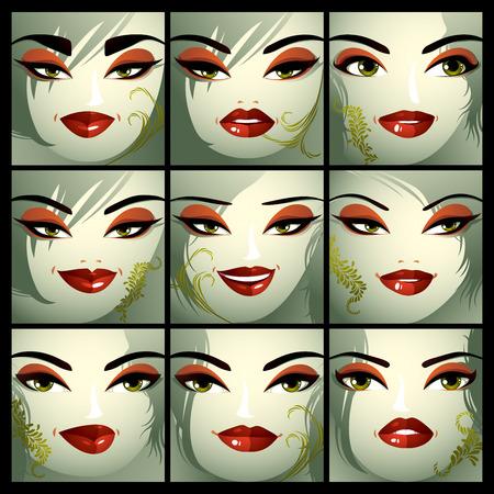 lachendes gesicht: Attraktive Damen Vektor Portraits Sammlung, Mädchen mit schönen Make-up und grüne Augen. Gesichtsausdruck von Frauen.