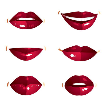 smile close up: Collection of vector red female lips with makeup, different emotions of ladies. Simple beautiful female open and close up lips and mouth. Illustration