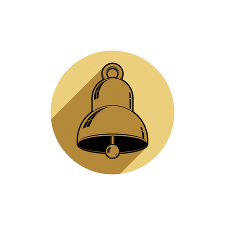 clang: Time is running out theme symbol. Alarm conceptual graphic icon, for use in design and marketing. Waiter calling bell.
