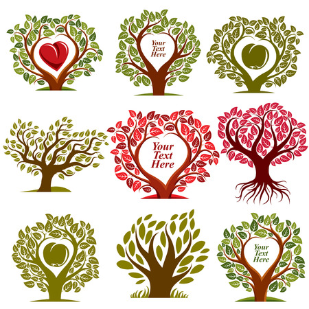 your text here: Vector graphic illustration of trees with red heart and empty copy space, You are free to write your text here. Eco botany single elements collection isolated on white background.