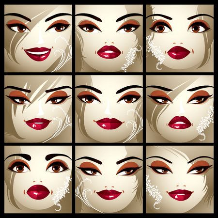brown eyes: Set of vector portraits of sexy women in different emotions. Parts of female faces with beautiful makeup, black brows, brown eyes and red lips.