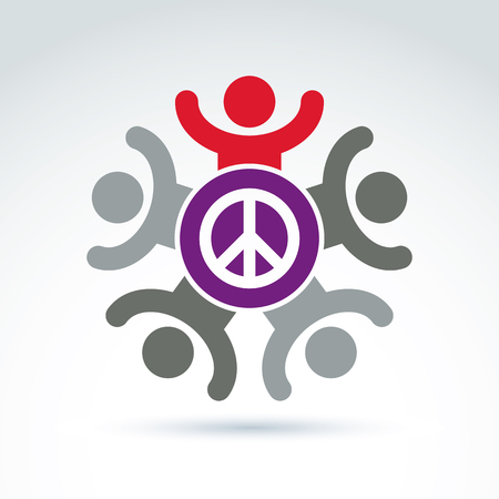 no integrity: Illustration of a group of people with hands up standing around a peace sign, excited hippy community. Harmony and freedom conceptual icon.