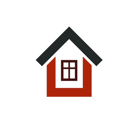 real estate house: Real estate simple business icon isolated on white background, vector abstract house. Property developer symbol