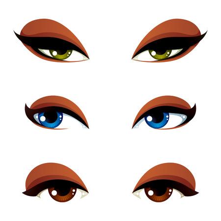 Conjunto de vector azul, marrón y ojos verdes. Ojos femeninos que expresan diferentes emociones, rasgos faciales de seducir a las mujeres.