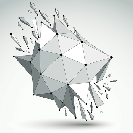 demolished: Perspective technology demolished shape with black lines and dots connected, polygonal wireframe object. Explosion effect, abstract faceted element cracked into multiple fragments. Illustration