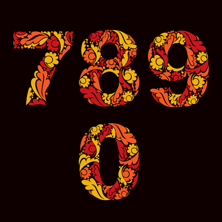 fiery: Ornamental figures, orange fiery numbers decorated with herbal pattern isolated. Illustration
