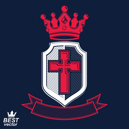 Imperial insignia, vector royal shield with decorative band and monarch coronet. Detailed eps8 coat of arms, king guard symbol with cross - web design element. Crusade.