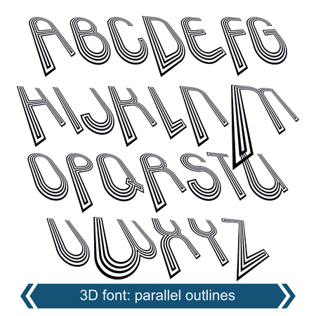 verb: Outlined rotated vector font, monochrome lined letters set.