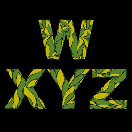 y ornament: Stylish font with herbal ornament. Green capital letters decorated with spring floral pattern. V, X, Y, Z, drop caps.