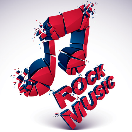 smashed: Red 3d vector shattered musical note with specks and refractions. Dimensional facet design music demolished symbol. Rock music theme. Illustration