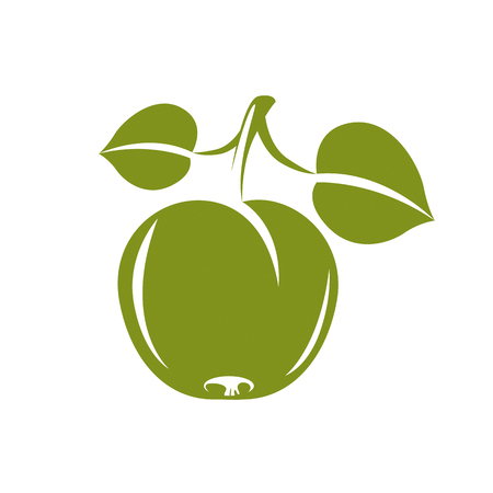 fertility emblem: Single green simple vector apple with green leaves, ripe sweet fruit illustration. Healthy and organic food, harvest season symbol.