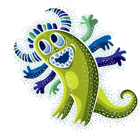 drawing cartoon: Vector cool cartoon happy smiling monster, simple weird creature. Clipart mythic character for use in graphic design and as mascot.