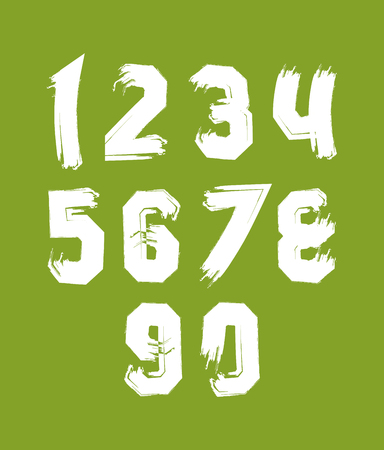 isolated background: Hand painted smear digits isolated on green background, over color acrylic vector numerals set. Illustration