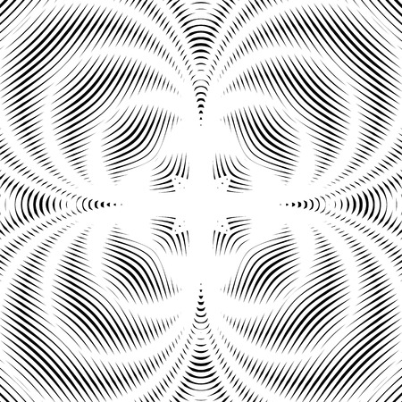 moire: Illusive background with black chaotic lines, moire style. Contrast vector geometric trance pattern, optical backdrop.