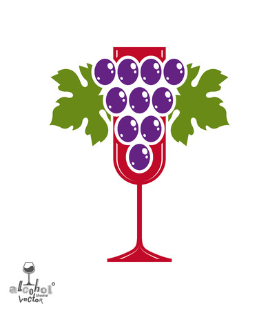 sensitivity: Winery award theme vector illustration. Stylized half full glass of wine with grapes cluster and decorative ribbon, racemation symbol best for use in advertising and graphic design. Illustration