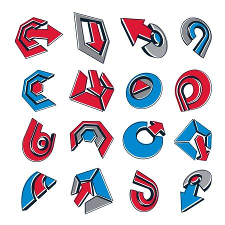 circular arrow: Vector 3d simple navigation pictograms collection. Set of red and blue corporate abstract design elements. Arrows and circular web icons.
