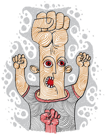 mad man: Aggressor concept, hand-drawn illustration of a weird person showing fists. Mad and wicked man with red furious eyes.