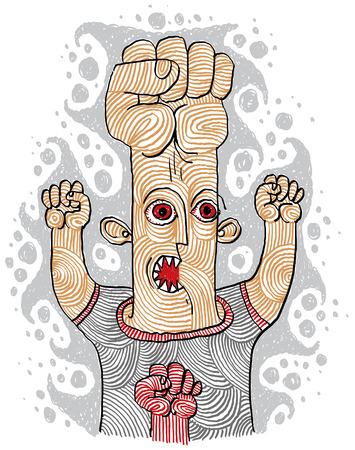 concetto di Aggressor, disegnati a mano di una persona strana che mostra i pugni. uomo pazzo e malvagio con gli occhi rossi furiosi. Vettoriali