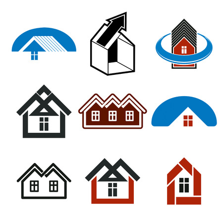 real estate industry: Growth trend of real estate industry, vector  simple house icons. Abstract building with an arrow showing up. Illustration