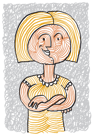human being: Vector illustration of a blonde smiling woman with hands folded. Happy lady drawing, joyful female.