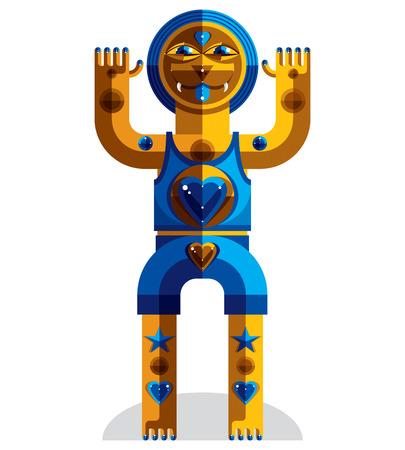 karma design: Modernistic vector illustration, geometric cubism style avatar isolated on white background. Strange character image made in flat design. Illustration