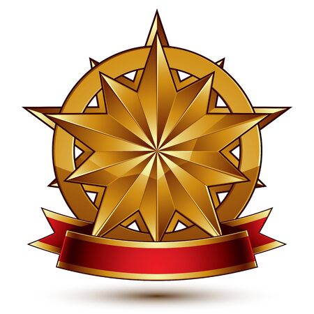 complicated: Complicated vector golden design element with polygonal decorative star and red curvy ribbon. 3d luxury medallion isolated on white background. Round festive dimensional badge with refined tape.