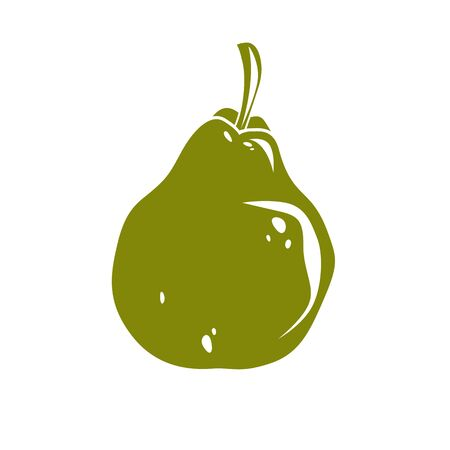 fertility emblem: Harvesting symbol, vector fruit isolated. Single organic sweet pear, healthy food idea design icon.