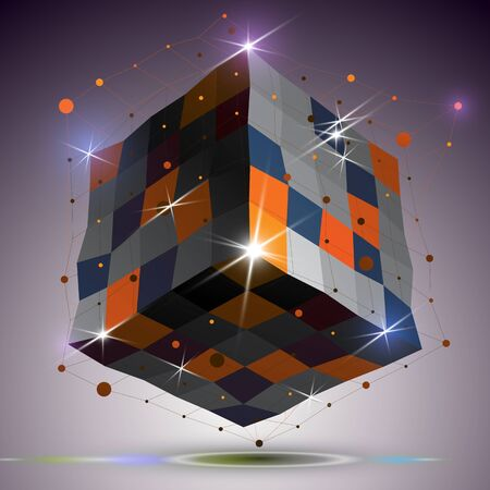 twist: Dimensional twisted shiny cube with lights effect. 3d colorful design element with connected lines, can be used in engineering and technology projects. Illustration