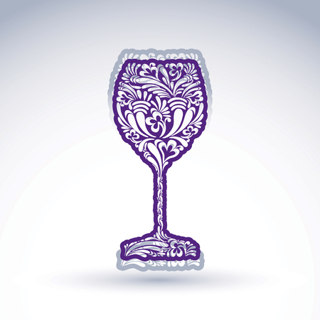Stylized flower-patterned goblet isolated on white backdrop, alcohol drink theme illustration. Elegant decorative wineglass with shadow, romantic vector design element. Illustration